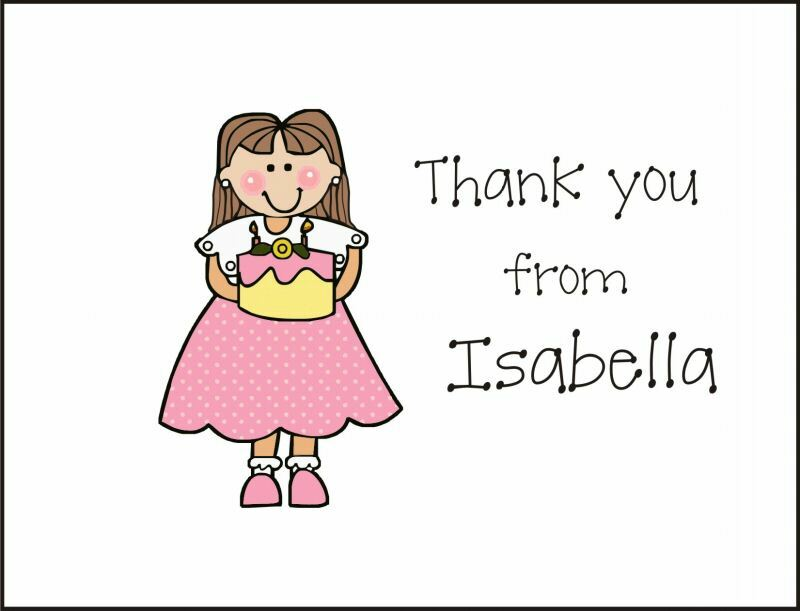 Personalized Birthday Thank You Note Card Stationery
