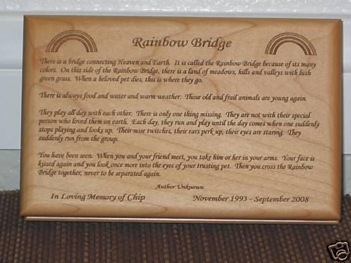 Rainbow Bridge Poem In Loving Memory Pet Memorial
