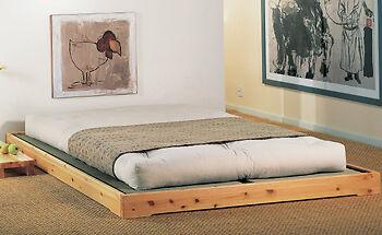 Letto Futon Giapponese 180x200 con Tatami,letto basso di Cinius in pino massello