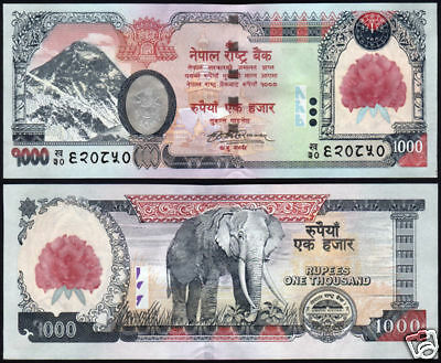 NEPAL 2008 1st series Rs 1000 EVEREST n FLOWER print BANKNOTE P 67a, sign 17,UNC